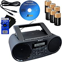 Sony Stereo NFC Technology CD/Cassette Combo Boombox Home Audio Radio Am/Fm Tuner, Black (CFDS70BLK) | Kit Includes 6 Batteries Xtech Cleaner Auxiliary Cable HeroFiber Cleaning Cloth