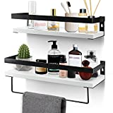 Bathroom Floating Shelves for Wall, White Wall Storage Shelves with Towel Bar, Bathroom Shelf Over Toilet Storage Shelving Wall Mounted for Kitchen, Bathroom ,Laundry Room Set of 2 (White)