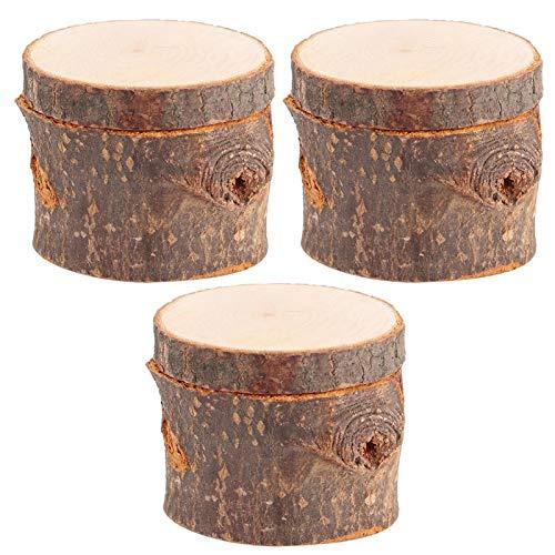 Nivvity Caja de Portador de Anillo, 3 Piezas/Juego de Caja de Anillo de Madera DIY Soporte de Anillo de Boda rústico Caja contenedor para cumpleaños del día de San Valentín