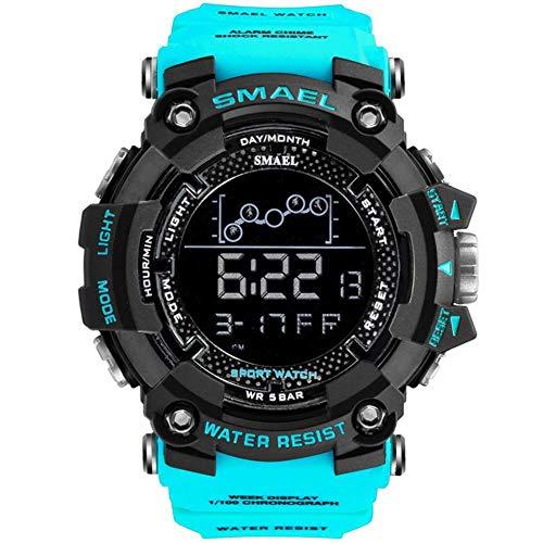 JTTM Herren Digitale Armbanduhr, Outdoor Laufen 5 Bar wasserdichte Militärische Uhren, Cool Sport Große Anzeige LED Sportuhr Mit Wecker Für Herren,Sky Blue