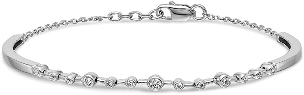 Solid 14k White Gold Diamond Bangle Cuff Bracelet - with Secure Lobster Lock Clasp 7