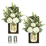 TenXVI Designs Remote Controlled Mason Jar Sconces with Roses and Eucalyptus - Set of 2 - Rustic Farmhouse, Boho, Country Western Home Wall Decoration for a Dining Room, Living Room, Bedroom - Brown