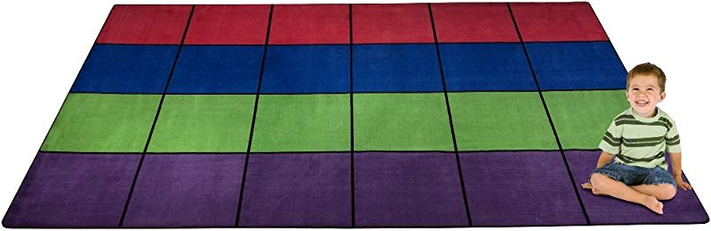 Kid Carpet FE702 44A Blocks Seating Nylon Area Rug Multi 24 7 6 X 12 Multicolored