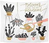 QAZX Tapisserie Verschiedene Zimmerpflanzen in Töpfen mit Schriftzug Bloom, wo Sie gepflanzt sind...