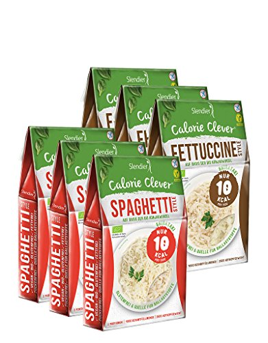 Slendier Confezione di prova Shirataki Bio Konjak Italia: 3 x Spaghetti 250 g, 3 x Fettuccine 250 g - Biologico