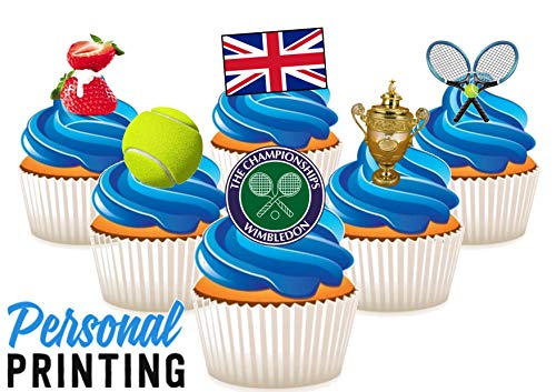 PP - Wimbledon 2019 Verenigd Koninkrijk Vlag Mix 12 Eetbare Stand up Premium Wafer Card Cake Toppers Decoraties