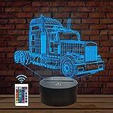 Luces de noche para niños, gran camión LWK, 3D, luz nocturna para coche, 16 colores, cambio con mando a distancia, el mejor regalo de cumpleaños para niños y bebés