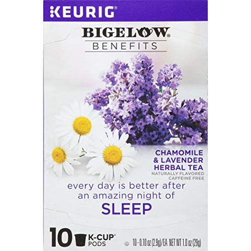 Bigelow Benefits Chamomile & Lavender Herbal Caffeine Free Tea K-Cups, Sleep, 10 Count (Pack of 6), 60 K-Cups Total