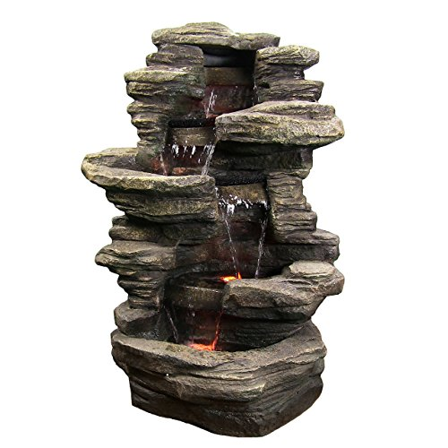 Sunnydaze Stacked Shale Rock Waterfall Fountain with LED Lights - Outdoor Rock Water Fountain for Patio, Backyard, Garden - 38 Inch Tall