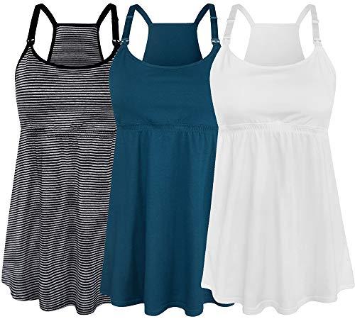 SUIEK Women's Nursing Tank Top Cami Maternity Bra Breastfeeding Shirts (Medium, Stripe+Atrovirens+White - Fourth Style)
