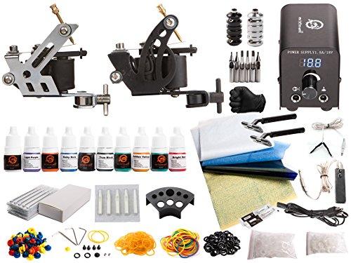 1TattooWorld Tattoo Kit 2 Tattoo Machines, Digital Power Supply, 10 Color 5ml Tattoo Inks, Grips, Needles, Transfer Paper etc, OTW-KTB210A