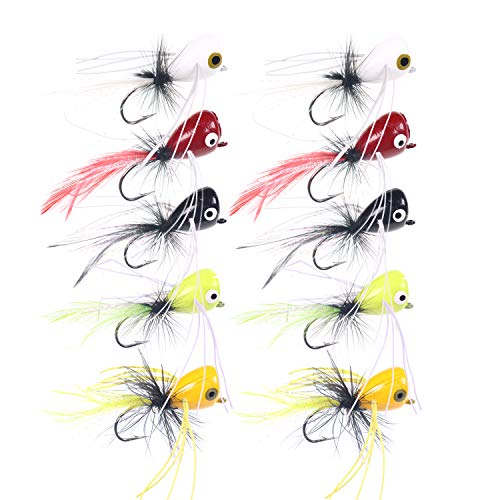 wifreo 10pcs Popper Fishing Lures Topwater Fly Fishing Bass Bug Size 2 Popper Flies