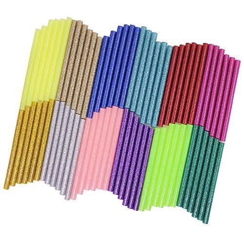 Afunta Heißkleber-Sticks, 72 Stück, 12 Farben, EVA-Kleber, Mini-Größe, Heißklebesticks für Heimwerker, Kunst, Handwerk, Reparatur, Verklebung – Durchmesser 7 mm, Länge 10 cm