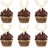 30 Pieces Antler Cupcake Toppers Wooden...