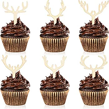 30 Pieces Antler Cupcake Toppers Wooden Reindeer Cake Topper Christmas Deer Cake Picks for Baby Shower Wedding Hunting Rustic Birthday Party Favors 6 Styles