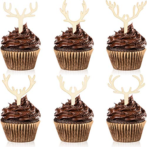 30 Pieces Antler Cupcake Toppers Wooden Reindeer Cake Topper Christmas...
