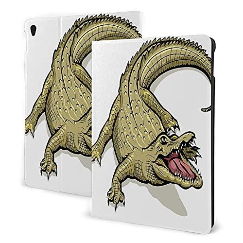 Case For iPad 8/7 ( 2020/2019 Model, 8th / 7th Gen), iPad Air3 & Pro Print Theme - Reptile Decor Illustration of Exotic Wild Crocodile Hungry Mouth Predator Aquatic Safari Jaws Home Navy White