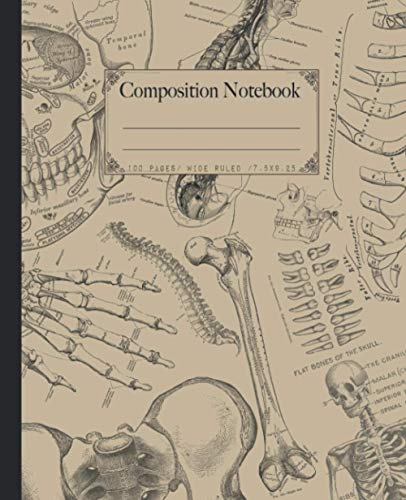 Composition Notebook: Antique human anatomy illustrations composition notebook. Wide ruled vintage theme medical illustrations gift.
