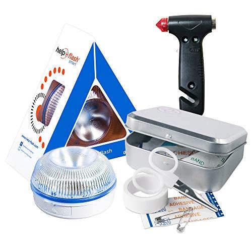 HELP FLASH SMART- luz emergencia AUTÓNOMA señalización peligro/linterna, homologada, DGT, V16 AUTOMÁTICA + MARTILLO Emergencia: rompeventanas+cortador cinturón, y de REGALO, CAJA KIT PRIMEROS AUXILIOS