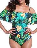 Yuson Girl Ruffle Bandeau Bikini Donna Vita Alta, Costume Interi Donna, One Piece Costumi da Bagno Push Up Trikini Imbottito,Mare Costumi Swimsuit Stampa