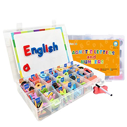 HahaGo Alphabet Magnet Zahlen und Buchstaben Foam Spielzeugset mit kleinem und großem Alphabet + 10 Symbole + flach + Stift + Radiergummi für Kinder Kleinkinder (220 Stück)