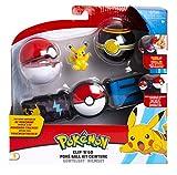 Pokemon Clip 'n' Go CINTURÓN Porta Bolas con Figura Pikachu Saludando y 2 Pokeball Originales Oficiales