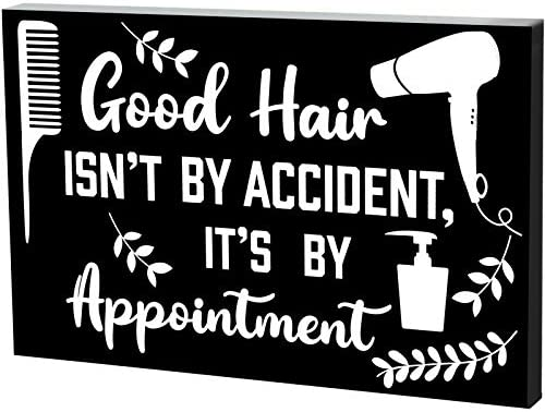 Hair Dresser Decor Sign Box Good Hair Isnt by Accident Its by Appointment Wood Sign 7 9 x 5 product image