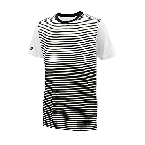 Wilson Enfant T-shirt de Tennis à Manches Courtes, B TEAM STRIPED CREW, Polyester, Noir/Blanc, Taille L, WRA767201