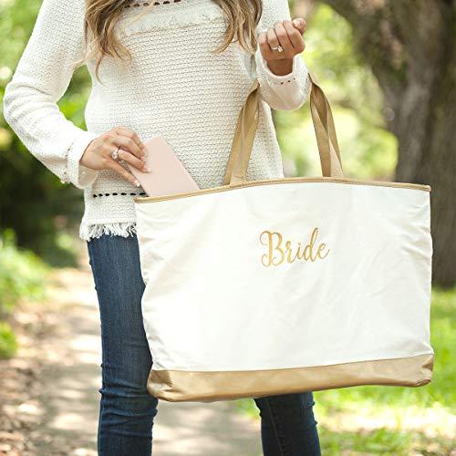 Monogrammed White Cabana Tote Bag, Gold Trimmed Bag, Bride Tote, Personalized Bride Tote Bag, Honeymoon Bag