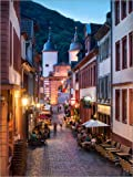 Posterlounge Stampa su PVC 50 x 70 cm: Romantic Old Town at Night in Heidelberg, Germany di Jan Christopher Becke