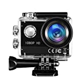 Action Cam TOPELEK FHD 1080P 16MP Action Camera 170Ultra-Weitwinkel Helmkamera Unterwasserkamera...