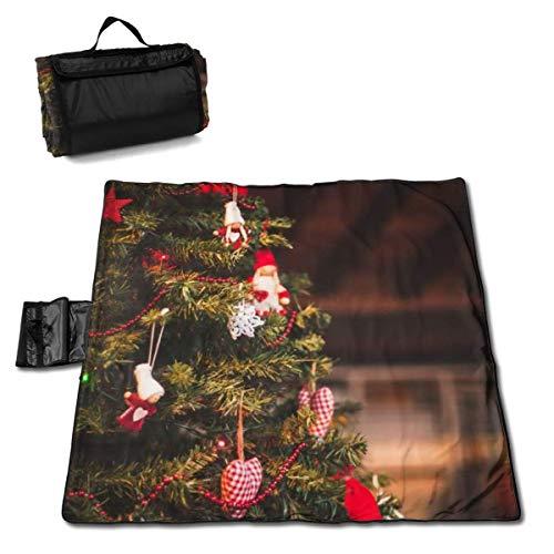 Suo Long Couverture de Pique-Nique pour Sapin de Noël et décorations de Noël avec Tapis de Pique-Nique en Plein air pour Camping, Plage, Parc, pelouse