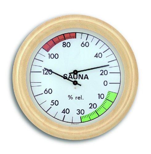 TFA Dostmann Analoges Sauna-Thermo-Hygrometer, mit Holzrahmen,Temperatur, Luftfeuchtigkeit, hitzebeständig