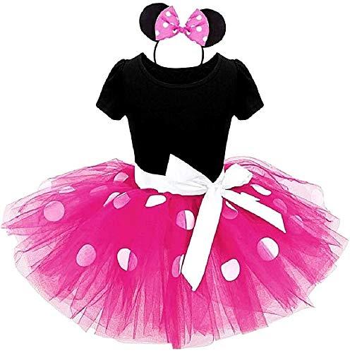 Disfraz de Mickey Mouse, disfraz, Minnie Body Tutú Diadema Carnaval Halloween Accesorios Niña Talla 80 1 2 años fucsia