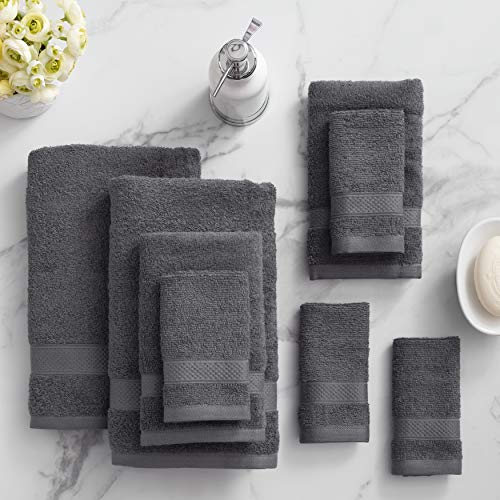 Welhome 100% Cotton Towel (Charcoal)- Set of 8 - Quick Dry -...