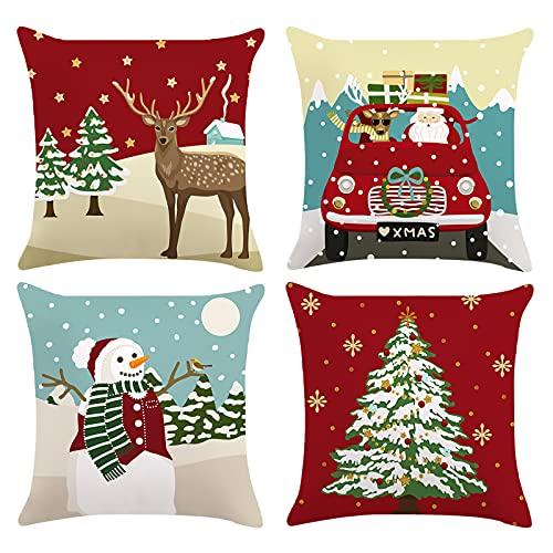 Bonhause Funda de Cojín de Navidad 45x45cm Funda de Almohada Reno Árbol de Navidad Camión Monigote de Nieve Terciopelo Suave Cojines Navideños Decorativos para Sofá Decoración Navideña Juego de 4