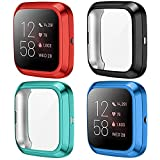 KIMILAR Screen Protector compatible with Fitbit Versa 2, (4 Pack) Soft TPU Plated Full Coverage Screen Bumper Protective Cover Case compatible with Fitbit Versa 2 Only, Black+Red+Green+Blue