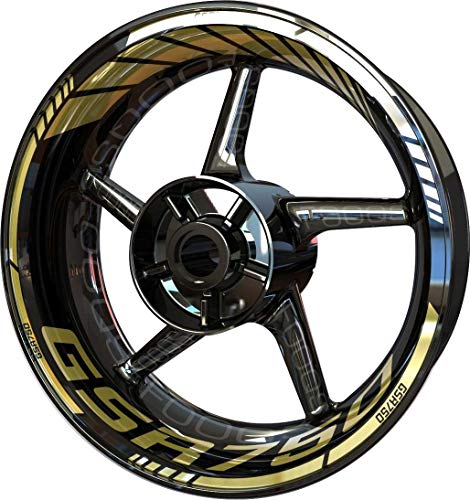 Motocicleta Moto Llanta Inner Rim Tape Decal Pegatinas F2 para Suzuki GSR 750 (Oro 2)