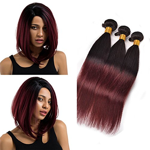 Volvetwig Brazilian Hair Weave Ombre Human Hair Straight 100 Virgin Echthaar Tressen Strong Weft Remy Hair Black to Burgundy 14 16 18 inches