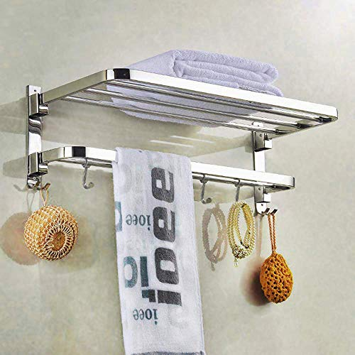 SYNERGY - 304 Grade 24 Inch Stainless Steel Dual Folding Towel Rack for Bathroom/Towel Stand/Hanger/Bathroom Accessories (SY-TH9)