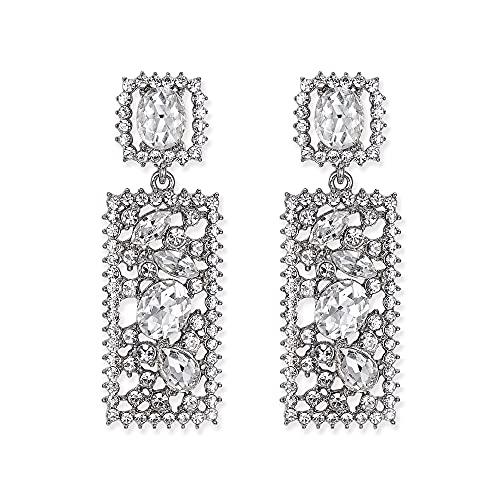 EVER FAITH Pendientes rectangulares verdes con cristales de estrás, diseño geométrico, Cristal, Crystal,