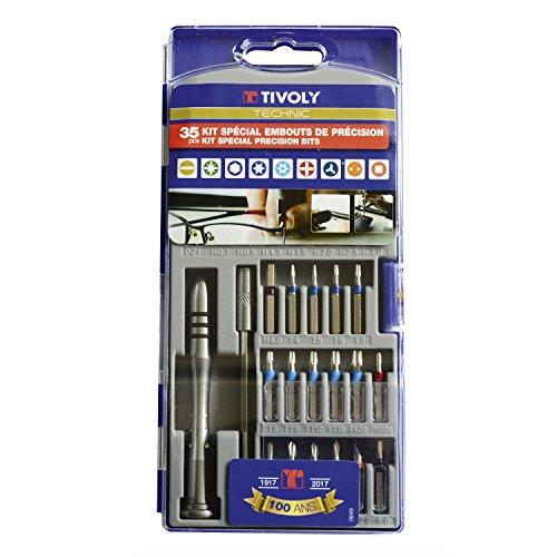 TIVOLY 11501570026 - Juego PRECISIÓN 35 Pzs 7 ranura / 2Pz / 4Ph / 8 Hexa / 4Torx / 5TXTamper / 1 Tri-Wing / 1 doble punta / 1 Cuadrado / 1 Mango de atornillador portapuntas / 1 Portapuntas Lg 100 (Envase de 35 pz.)