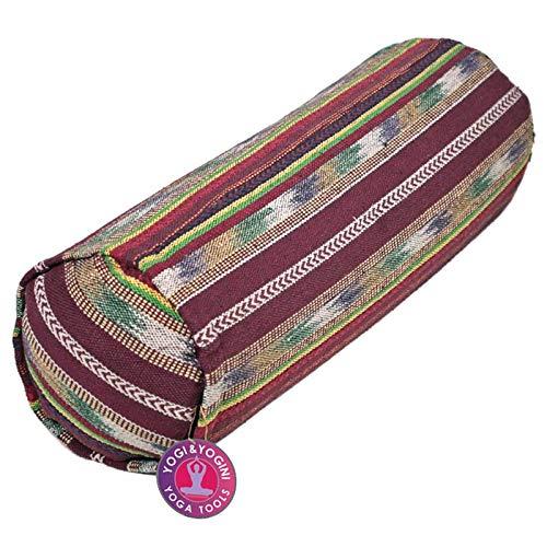 Bolster de yoga tribal de 60 x 20 cm, redondo, 3,75 kg, acolchado con cáscara de...