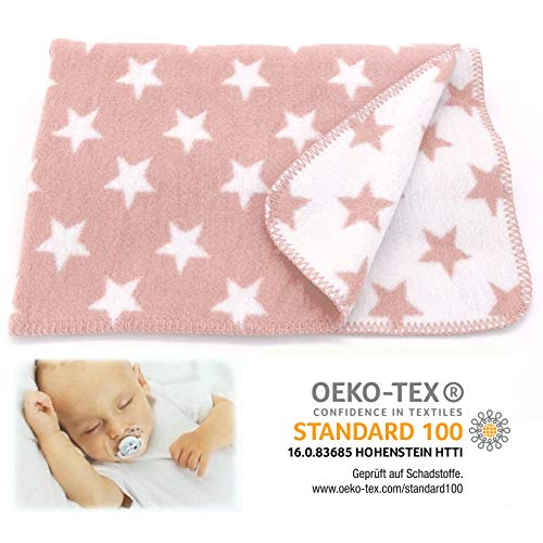 heimtexland SUPER Soft Baby Kuscheldecke Sterne rosa 75x100 cm Babydecke Mädchen Rose Baumwolle ÖKOTEX zertifziert Decke Typ526