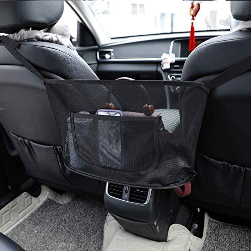 Car Net Pocket Handbag Holder,Car Seat Storage Net Bag,Net Mesh Organizer Storage Pouch Pocket for Handbag Bag Documents Phone Valuable Items,Driver Storage Netting Pouch with Bag on Back (Black)