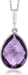 925 Sterling Silver Amethyst Pendant Necklace 6.50 Ct Pear Shape Gemstone Birthstone For Women with 18 Inch Silver Chain