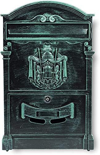 VERDA Briefkasten Postkasten Retro Antik Vintage Wandbriefkasten Mailboxen Aluguss Modellwahl (SN3663-4 Antik Grün)