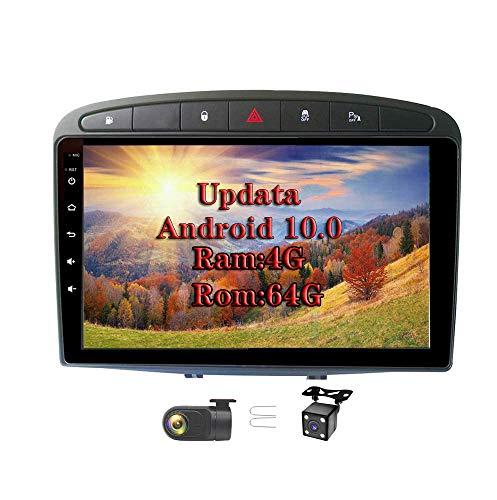 XISEDO In-Dash Android 9.0 Autoradio 9' Radio de Coche 4G RAM 64G ROM Car Radio Estéreo de Automóvil para Peugeot 308 (2008-2010) Soporte Control del Volante, RDS, Bluetooth, WiFi