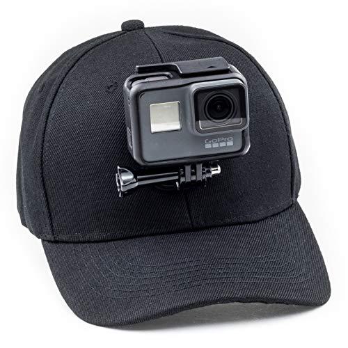 Digicharge Baseballkappe mit Action-Kamera-Halterung, kompatibel mit GoPro Hero Akaso Crosstour Campark Fitfort Garmin VIRB Apeman Sony Camkong Motorola Victure Kitvision Nikon Cam Schwarz