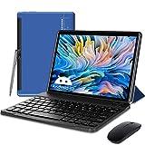 Tablet 10.1 Pulgadas 5G WiFi Android 10, 1.6 GHz, 4GB+64GB, TF 128GB con Certificación Google, 6000mAh, FM, Bluetooth, Type-C(Rojo) (Blue)